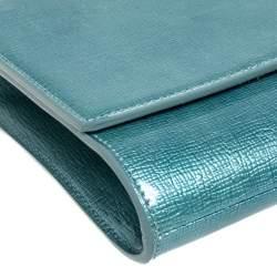 Saint Laurent Mint Green Patent Leather Belle De Jour Flap Clutch