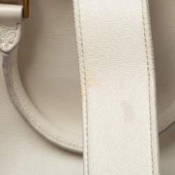 Saint Laurent White Leather Baby Monogram Cabas Tote