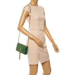 Saint Laurent Green Suede Small Kate Tassel Crossbody Bag