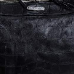 Saint Laurent Paris Black Croc Embossed Leather Bag