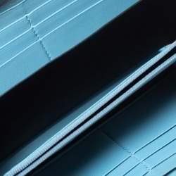 Saint Laurent Blue Leather Classic Y-Ligne Zip Around Wallet