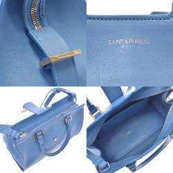 Saint Laurent Blue Leather Baby Cabas YSL Bag