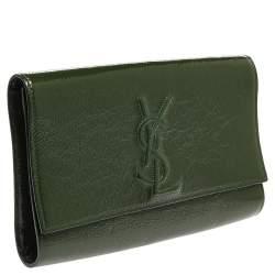 Yves Saint Laurent Green Patent Leather Belle De Jour Flap Clutch