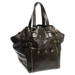Yves Saint Laurent Dark Brown Patent Leather Large Downtown Tote
