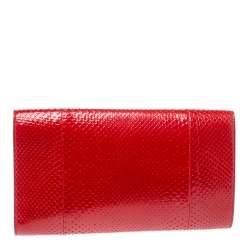Yves Saint Laurent Red Python Belle De Jour Flap Clutch