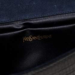 Yves Saint Laurent Navy Blue Lizard Embossed Leather Y-Ligne Clutch