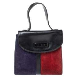 Yves Saint Laurent Tricolor Leather and Suede Vintage Flap Top Handle Bag