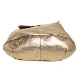 Yves Saint Laurent Metallic Gold Leather Capri Hobo