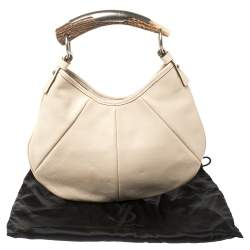 Saint Laurent  Ivory Leather Mini Mombasa Hobo