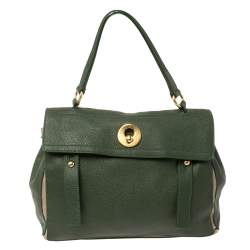 Yves Saint Laurent Green/Beige Leather and Canvas Medium Muse Two Satchel