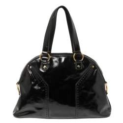 Yves Saint Laurent Black Patent Leather Large Muse Bag