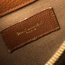 Saint Laurent Brown Leather and Canvas Medium Muse Two Top Handle Bag