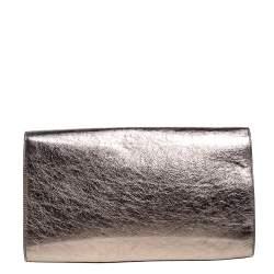 حقيبة كلتش سان لوران بل دو جور جلد ميتالك