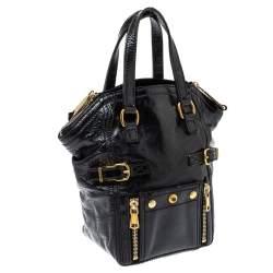 Yves Saint Laurent Black Patent Leather Mini Downtown Tote