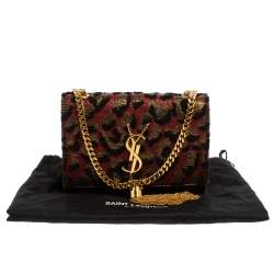 Saint Laurent Tri Color Fabric Small Kate Tassel Crossbody Bag