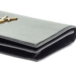 Saint Laurent Paris Black Patent Leather Kate Monogram Clutch
