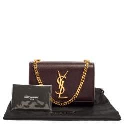 Saint Laurent Burgundy Leather Small Monogram Kate Shoulder Bag