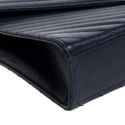 حقيبة سان لوران كاساندري كبيرة قلاب جلد ماتيلاس أزرق كحلي