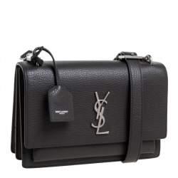 حقيبة كتف سان لوران صن سيت جلد محبب نقش التمساح رمادية متوسطة
