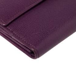 Saint Laurent Purple Leather Y-Ligne Flap Wallet