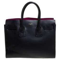 حقيبة يد سان لوران ساك دو جور كلاسيك صغيرة جلد سوداء