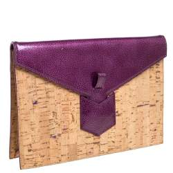 Yves Saint Laurent Beige/Purple Cork and Patent Leather Clutch