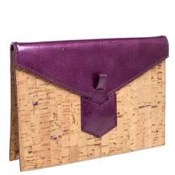 Yves Saint Laurent Beige/Purple Cork and Patent Leather Clutch