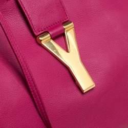 Saint Laurent Fuchsia Leather Medium Cabas Y-Ligne Tote