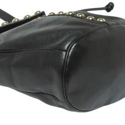 Yves Saint Laurent Black Leather Studded Y Flap Shoulder Bag