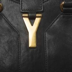Yves Saint Laurent Black Leather Small Cabas Y-Ligne Tote