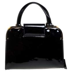 Saint Laurent Black Patent Leather Uptown Small Tote