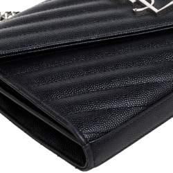 Saint Laurent Black Matelasse Leather Monogram Envelope Wallet on Chain
