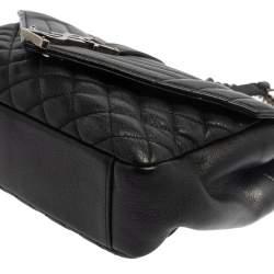 Saint Laurent Black Mix Matelasse Leather Medium College Flap Bag