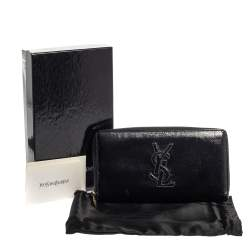 Saint Laurent Black Patent Leather Bell De Jour Zip Around  Wallet