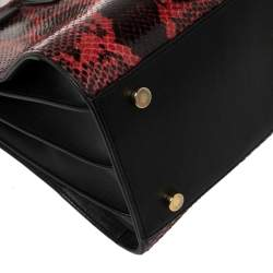 Saint Laurent Red/Black Python and Leather Small Classic Sac De Jour Tote