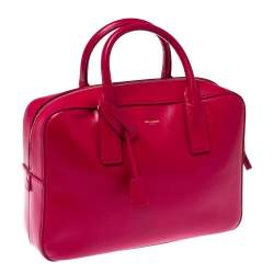 Saint Laurent Magenta Grained Leather Museum Briefcase
