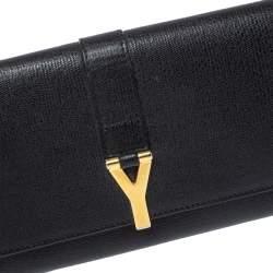حقيبة كلتش سان لوران واى-ليغن جلد سوداء