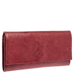 Saint Laurent Maroon Textured Leather Belle De Jour Flap Clutch