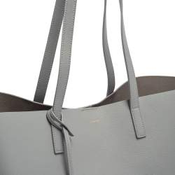 Saint Laurent Grey Leather Shopping Tote