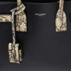 Saint Laurent Black Leather and Python Baby Classic Sac De Jour Tote