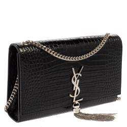 Saint Laurent Black Croc Embossed Leather Medium Kate Tassel Shoulder Bag
