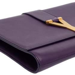 Saint Laurent Purple Leather Y-Ligne Clutch