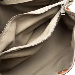 Saint Laurent Orange/Beige Leather and Canvas Muse Two Satchel