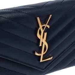 Saint Laurent Navy Blue Matelassé Leather Monogram Flap Wallet