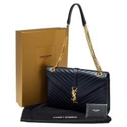 Saint Laurent Navy Blue Matelasse Leather Large Cassandre Flap Bag