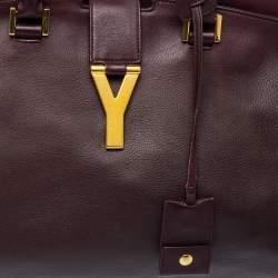 Saint Laurent Burgundy Leather Medium Cabas Y-Ligne Tote