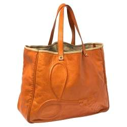 Yves Saint Laurent Orange Leather Charms Tote