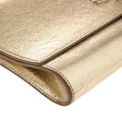 Saint Laurent Metallic Gold Leather Belle De Jour Flap Clutch