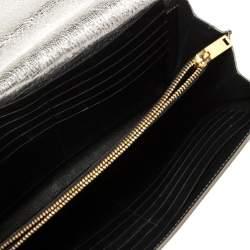 Saint Laurent Silver Leather Chain Clutch