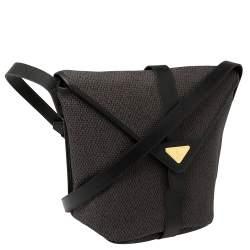 Saint Laurent Black/Purple Woven Coated Canvas and Leather Vintage Flap Shoulder bag